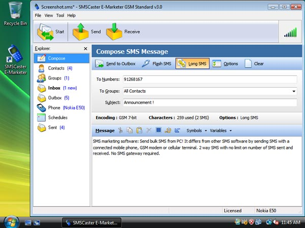 SMSCaster E-Marketer GSM Enterprise 3.6 Build 1071